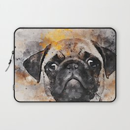 Pug Puppy Using Watercolor On Raw Canvas Laptop Sleeve
