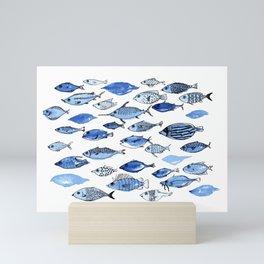 Aquarium blue fishes Mini Art Print