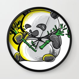 Panda monium Pandamonium shirt angry Kawaii panda Wall Clock