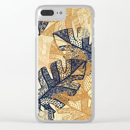 jungle tangle –navy, blush, gold Clear iPhone Case
