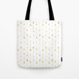 White And Gold Glitter Arrow Pattern Tote Bag