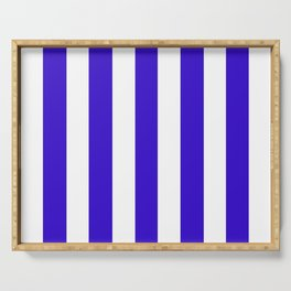 Interdimensional blue - solid color - white vertical lines pattern Serving Tray