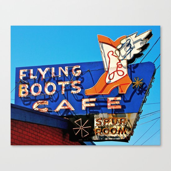 Flying Boots Cafe Canvas Print