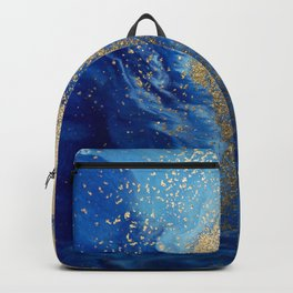 Abstract Pour Painting Liquid Marble Abstract Blue Painting Gold Accent Backpack