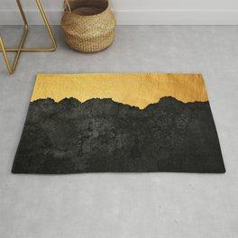 Black Grunge & Gold texture Rug