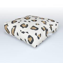 Wildcat Big Leopard Print in Bone White Outdoor Floor Cushion