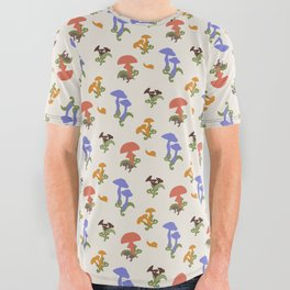 Playful Pattern with Mushrooms and Snails All Over Graphic Tee