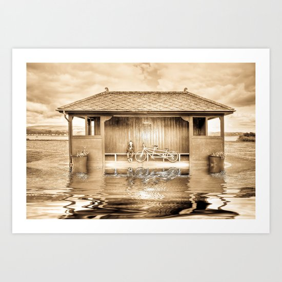 Shelter In The Floods  Art Print
