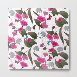 Abstract neon pink green cute elephant floral Metal Print