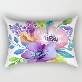 Flores en aquarela Rectangular Pillow