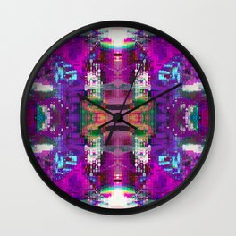 Purple digital patchwork Wall Clock