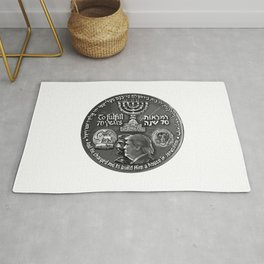 Trump Israel 70th Anniversary Temple Coin Art (Front Side) Rug