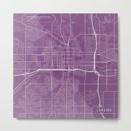 Lansing Map, USA - Purple Metal Print