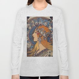 "Alfons mucha ,"" Zodiac "" Long Sleeve T-shirt"