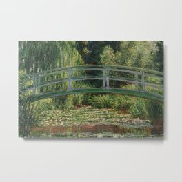 The Japanese Footbridge and the Water Lily Pool Metal Print