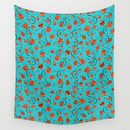 Halloween Magic- Turquoise Wall Tapestry
