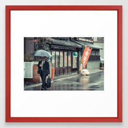 A Stroll in the Rain Framed Art Print