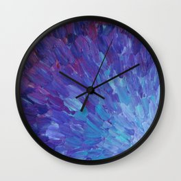 SCALES OF A DIFFERENT COLOR - Abstract Acrylic Painting Eggplant Sea Scales Ocean Waves Colorful Wall Clock