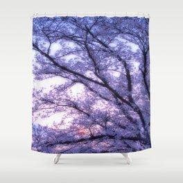 Periwinkle Lavender Flower Tree Shower Curtain