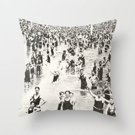 1920's Swimmers - Coney Island Throw Pillow