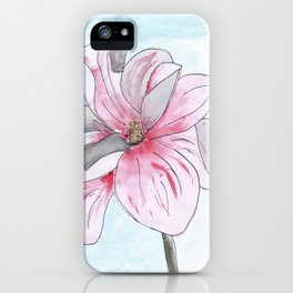 Magnolia Flower watercolor iPhone Case