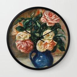 Auguste Renoir - Roses In A Jug Wall Clock