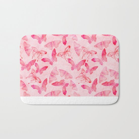Pink pastel Butterflies allover pattern Bath Mat