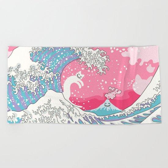 Psychodelic Bubblegum Kunagawa Surfer Cat Beach Towel