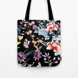 French Butterfly Black Tote Bag