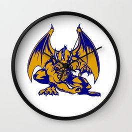 Red Eyed Pointy Winged Dragon Wall Clock