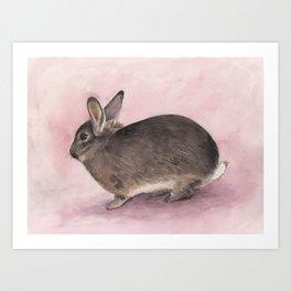 Mini Bunny Rabbit, Nursery Watercolor Art Print