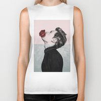 mouth Biker Tanks featuring Mouth Flower by Sofia Azevedo