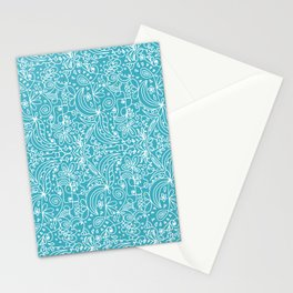 White line doodles on blue Stationery Cards