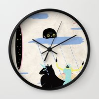 girl power Wall Clocks featuring GIRL POWER by Alba Blázquez