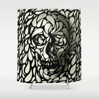 leather Shower Curtains featuring Skull by Ali GULEC