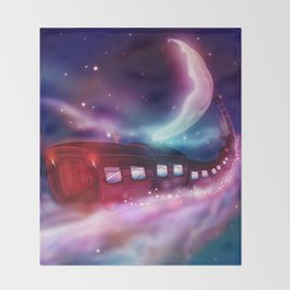 A Trip to the Moon by Locomotive Throw Blanket