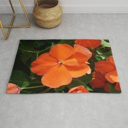 Vivid Orange Vermillion Impatiens Flower Rug