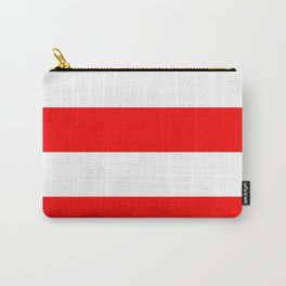 Wide Horizontal Stripes - White and Red Carry-All Pouch