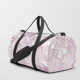 Vintage Pink Tropical Palm Leaf Pattern Duffle Bag