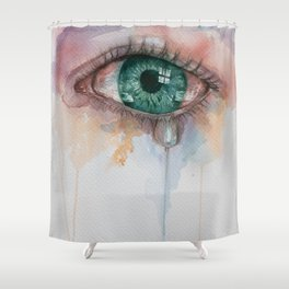 Beautiful watercolor illustration with crying green eyes. Shower Curtain