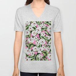 White Spring Flowers Unisex V-Neck