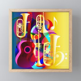 Colorful music instruments with guitar, trumpet, musical notes, bass clef and abstract decor Framed Mini Art Print