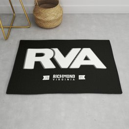 "Rva Logo - White | "" Striped Outline "" Rug"