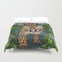 ocelot jungle nightshade Duvet Cover