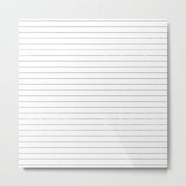 White Black Lines Minimalist Metal Print