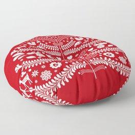 Scandinavian Folk Art Christmas Tree Floor Pillow