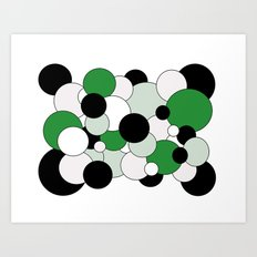 Bubbles - green, black, gray and white Art Print