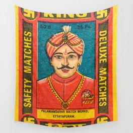 Old Matchbox label #9 Wall Tapestry