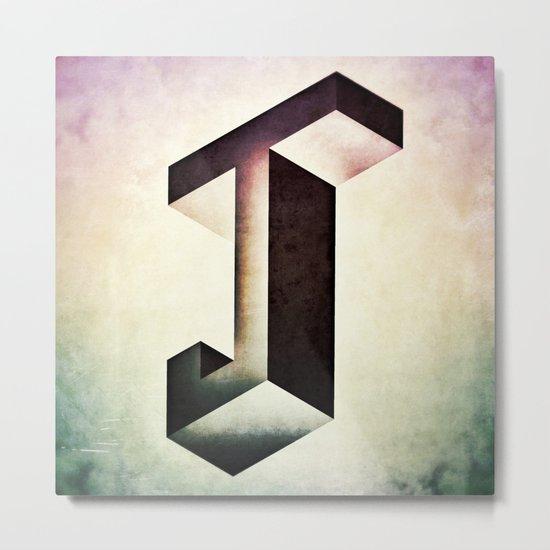 Isometric J Metal Print