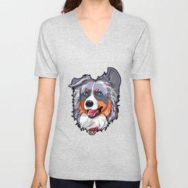 Australian Shepherd Dog Puppy Doggie Present Unisex V-Neck